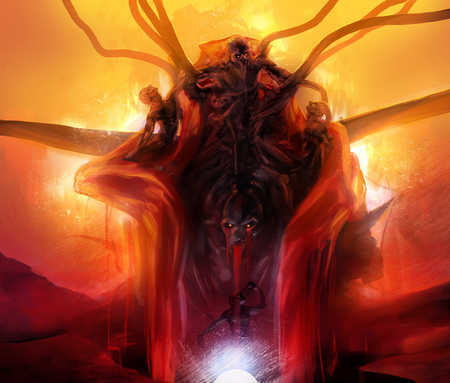 Summoned evil. Hellish horror evil statue monument made of diabolical monsters and creatures with fire  magma background fantasy illustration.