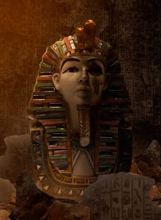 egyptology: Egypt pharaoh bust standing in ancient ruins cave with egyptian symbols wall. Stock Photo