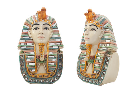 antiquities: Isolated egyptian pharaoh porcelain bust with color elements profile & front view.
