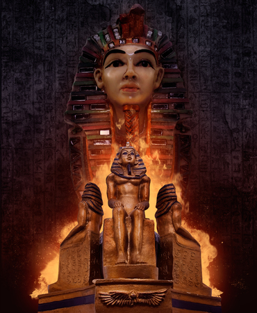 egyptian pharaoh: Composition of ancient egyptian pharaoh`s tomb statues with fire & symbolic rusty walls on background.