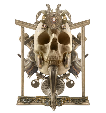 etched: Isolated detailed copper skull composition with antique etched elements, border & jewelry on white background. Stock Photo