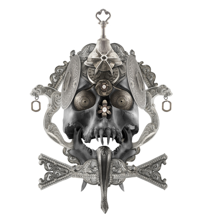 etched: Isolated detailed silver skull composition with antique etched elements, sharpened teeth & jewelry. Stock Photo