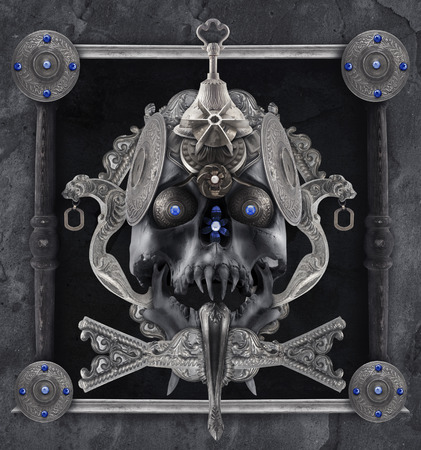 etched: Detailed silver skull composition with antique etched elements, sharpened teeth, border & jewelry. Stock Photo