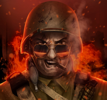 Illustration angry american airborne soldier face with glasses, cigar and helmet  & burning city behind him.