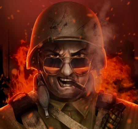 Ilustracja wściekły amerykański żołnierz w powietrzu twarz z okularami, cygara i kasku i płonącego miasta za nim.