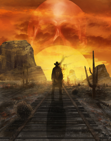 Illustration of a mystic cowboy ghost standing on a western desert railroad on a sunset with sun in skull shape.