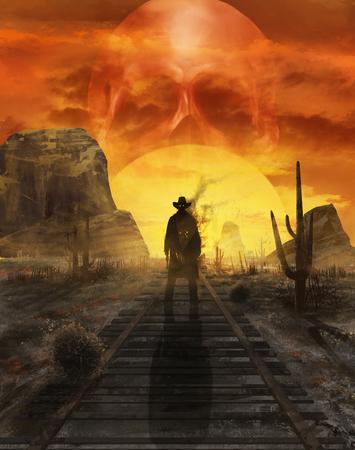 Ilustración de un fantasma vaquero mística de pie sobre un ferrocarril occidental del desierto en una puesta de sol con el sol en la forma del cráneo.