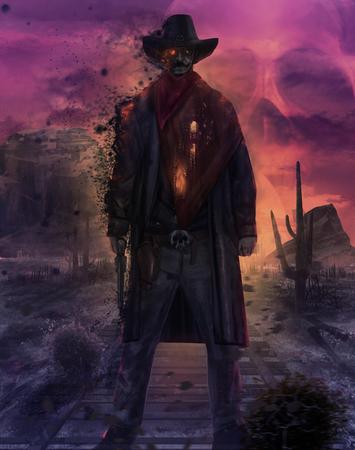 avenger: Ilustración de una mística de pie vaquero fantasma muerto en un ferrocarril desierto occidental con el arma y el equipo en una puesta del sol púrpura del cráneo.