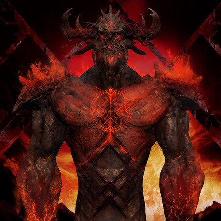Artwork of a muscle built hell monster with horns, fire elements, armor and spikes on flame inferno background.