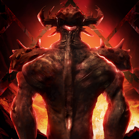 Artwork of a muscle built hell monster back with horns, fire elements, armor and spikes on flame inferno background.