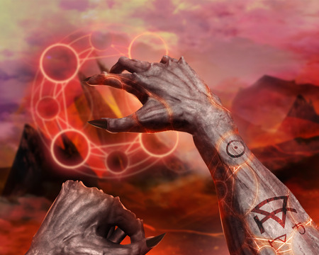 hellish: 3d first person demonic hands with claws casting flame spell pentacle on hellish landscape background. Stock Photo