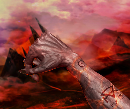 hellish: 3d first person view demonic hand with claws on a hellish landscape background.