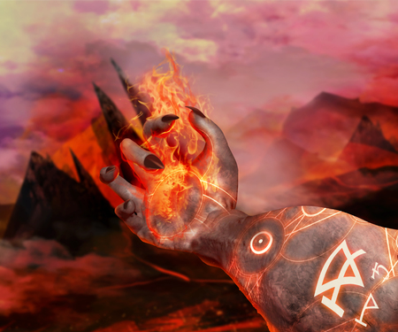 hellish: 3d first person view demonic hand with magic glowing pentacles holding fireball on a hellish landscape background. Stock Photo