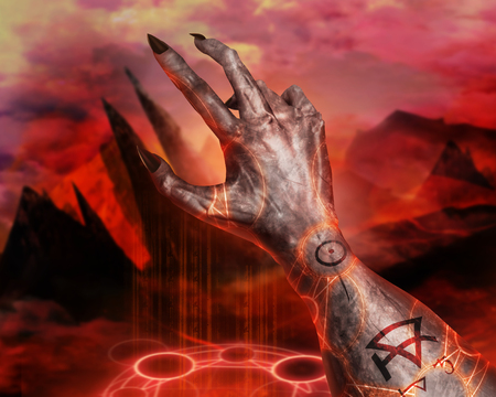 3d first person view demonic hand with claws casting pentacle fire sign on a  hellish landscape background.