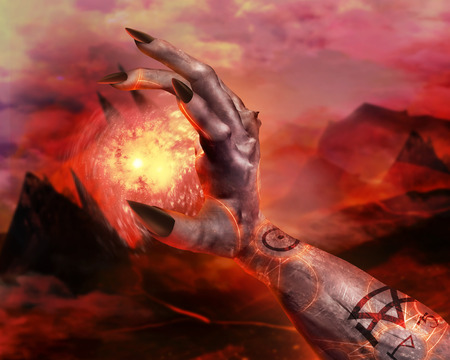 hellish: 3d first person view demonic hand holding fireball spell with pentacle glowing signs on hellish landscape background.