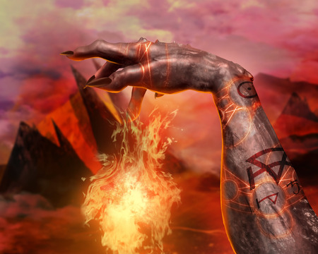 hellish: 3d first person view demonic hand casting fireball spell with pentacle glowing signs on hellish landscape background. Stock Photo