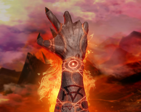 hellish: 3d first person view artwork of a horror demonic hand with pentacle signs casting fire spell on a hellish landscape background. Stock Photo