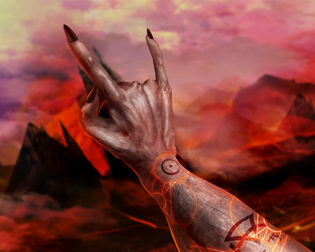 hellish: Artwork of a 3d first person view demonic hand showing horn sign and magic pentacle on hellish landscape background.