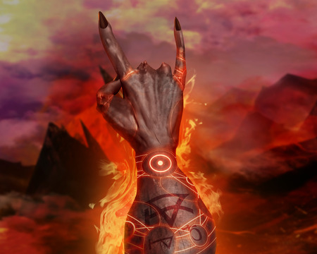 hellish: Artwork of a 3d first person view demonic hand showing horn sign and magic pentacle fire effects on hellish landscape background.