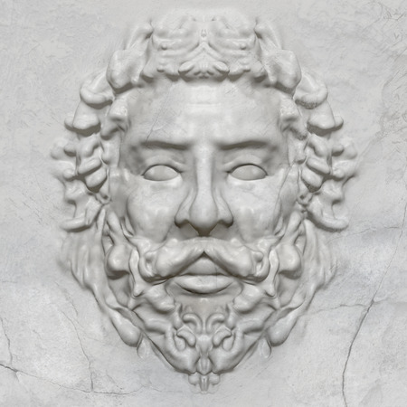 relief: 3d artwork sculpture of a greek man bas-relief face in marble texture. Stock Photo