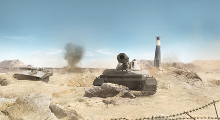 World war 2: Desert war tanks battle scene with explosions, barbed wire & ruins background.