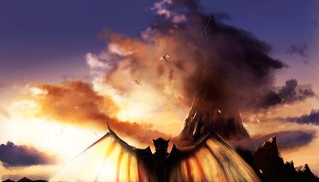 Fantasieillustratie van een landschap van de zonsondergangberg met vliegende en bevindende demonnen met vleugels.