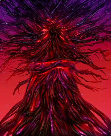 Illustration of a fantasy goddess locked in a fire glowing tree with crimson background.