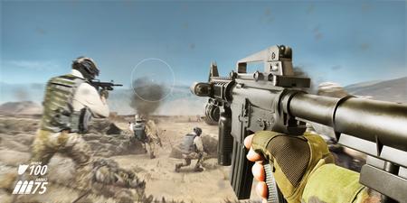 Champ de bataille du désert à la première personne vue de fusil vr avec des soldats et des explosions. Banque d'images