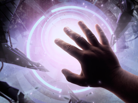 Illustration of a male first person view hand protecting from attacking alien claw with bright light shining at him.