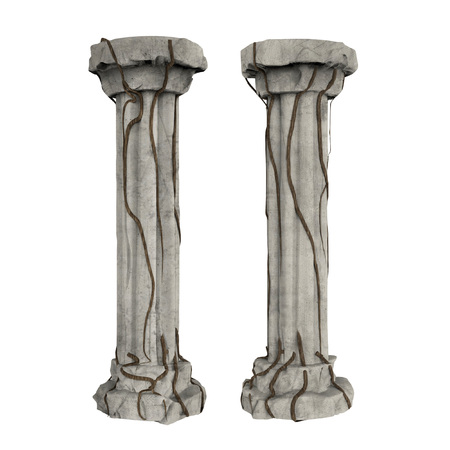 Grey stone columns with brown isolated on white background. Stock Photo