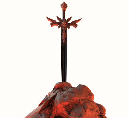 Artwork of a steel demon sword with skull in stone with red fire highlights isolated on white background.