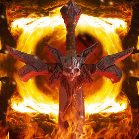 Close up artwork of a steel demon sword with skull on fire heated inferno background. Imagens