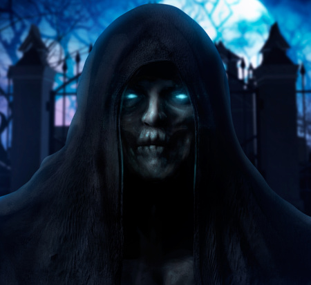 Scary grim reaper ghost face with glowing blue eyes in black cloth hood on misty cemetery background. Stock Photo