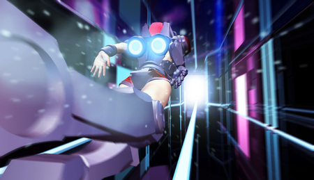 Illustration of a sci-fi woman in robot space suit with jetpack and neon lights flying on space led lights city block tunnel background in perspective rear view. Stok Fotoğraf
