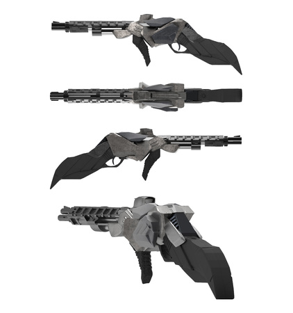 Futuristic sci-fi metal rifle gun different angles isolated on white background. Stok Fotoğraf