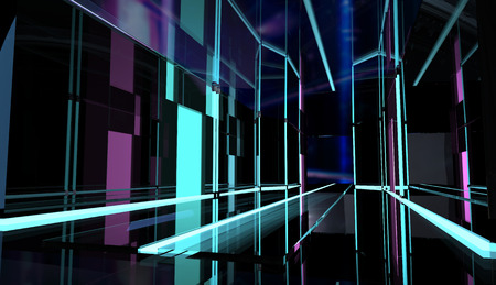 Perspective neon styled black room with led stripes and glass reflections. Stok Fotoğraf