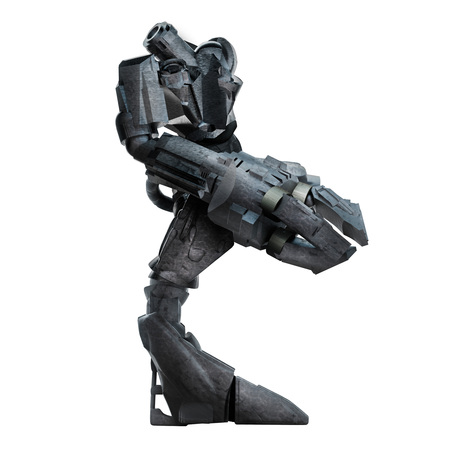 Grey steel futuristic sci-fi mech warrior robot  standing with grab arm and gun isolated on white background profile view.