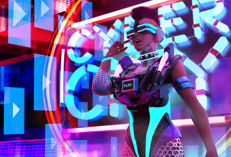 Three dimensional character artwork of a sci-fi cyber punk girl with neon glasses, collar and armor torso on neon city background. Stok Fotoğraf