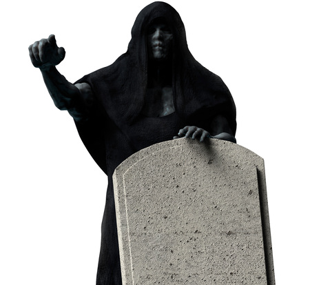 Grim reaper ghost in black hood holding a tombstone and pointing arm isolated on black background front view. Stok Fotoğraf
