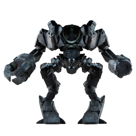 Grey steel futuristic sci-fi mech warrior robot  standing with grab arm and gun isolated on white background front view. Stok Fotoğraf