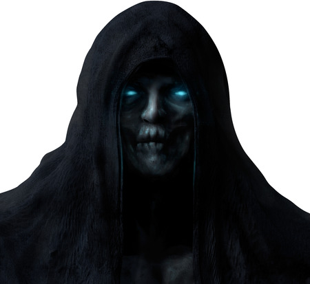 Grim reaper ghost face in black hood with glowing blue eyes isolated on white background.