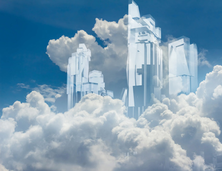 Artwork of a crystal build transparent glass skycrapers flying in flyffy clouds blue background.