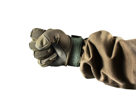 Military fist in glove and tactical jacket profile view isolated on white background. Stock fotó