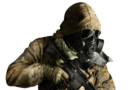 Isolated photo of a desert post-apocalyptic soldier in tactical jacket, gas mask, gloves, rifle and armor standing on white background side view.