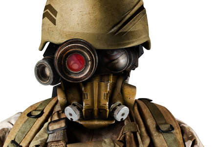 Isolated photo of a futuristic robot soldier portrait standing in helmet and armor on white background. Stockfoto - 151068817