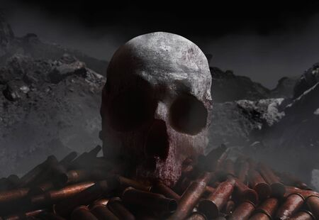 Photo of a bloody skull laying on a pile of rifle  gun shells on gloomy rocks background with fog.