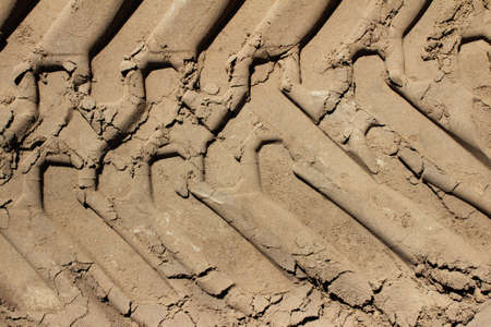 Photo of a tracktor wheel protector printed on sand.