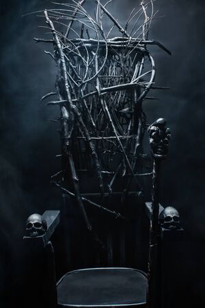 Photo of  evil witch throne made of branches with skulls and cane, on foggy black background. Zdjęcie Seryjne
