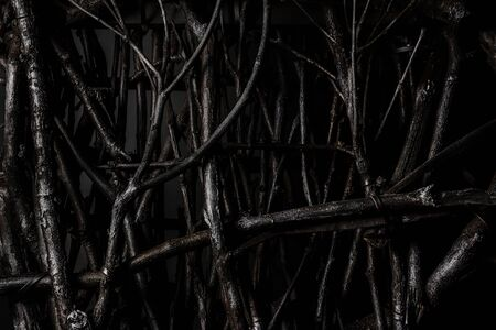 Photo of a shaded fence made of wooden branches close-up view.