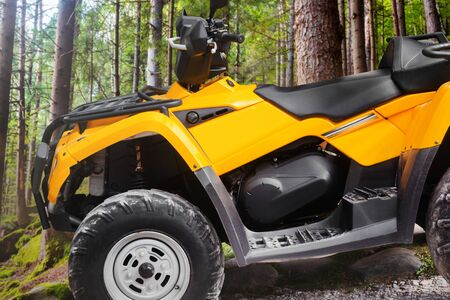 Photo of a yellow offroad touring atv vehicle standing in forest profile close-up view.